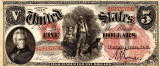 5 dolari 1875 Reproducere Bancnota USD , Dimensiune reala 1:1