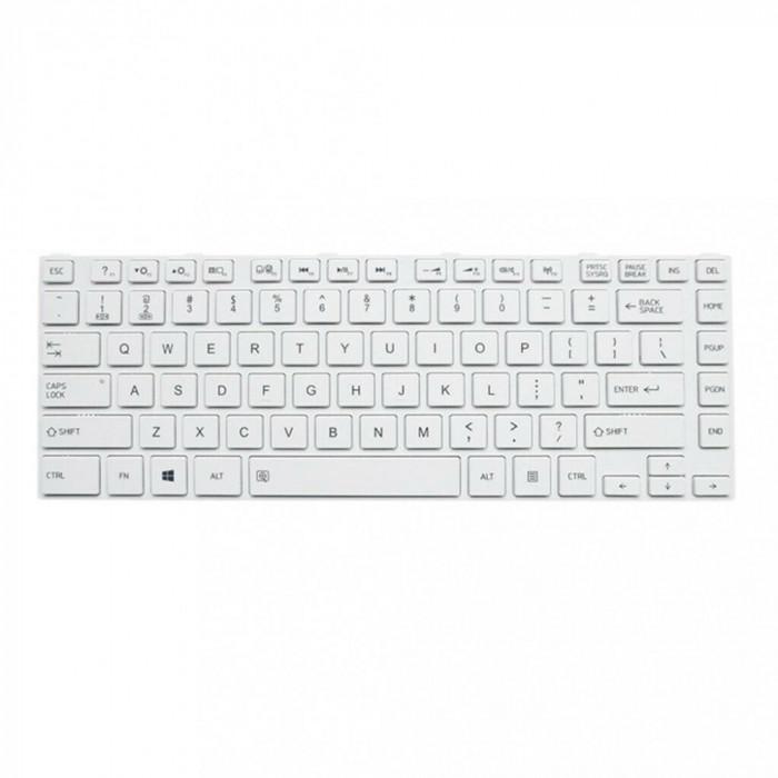 Tastatura Laptop, Toshiba, Satellite C55DT-A, alba, cu rama, US