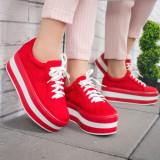 Pantofi Itami rosii cu platforma