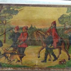 Tablou vechi , pictură pe lemn .