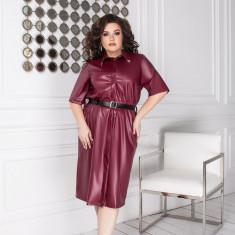 Rochie din piele eco cu cordon