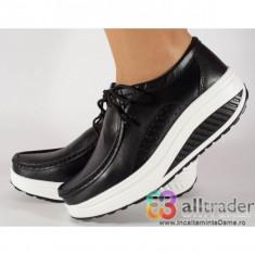 Pantofi negri talpa convexa, piele naturala dama/dame/femei (cod AC020-43)