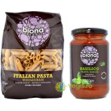 Deliciu Italian: Penne Integrale din Grau Dur Ecologice/Bio 500g + Sos de Rosii cu Busuioc pentru Paste Ecologic/Bio