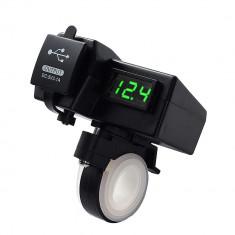 Priza USB x 2 si Voltmetru digital moto, led verde, culoare negru