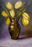 Lalele galbene, Flori, Ulei, Realism