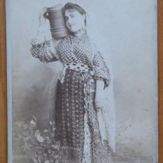 Foto pe carton ; sfarsit de secol 19 , Costume populare , Bucuresti