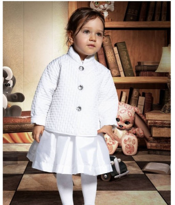 Geaca eleganta pentru fetite-Krasnal C015A, Alb foto