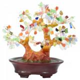 Copac decorativ ceramic 7 chakre cu pietre naturale multicolore