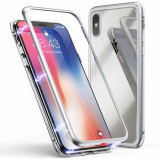 Husa metalica Apple iPhone X Total Protect GloMax Argintiu spate sticla folie