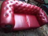Canapea pentru 2 persoane din piele ecologica rosie, model impozant, Canapele fixe