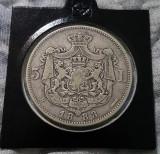 5 lei 1883 Carol I , argint , patina