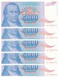 IUGOSLAVIA lot 5 buc. X 5.000 dinara 1994 UNC!!!