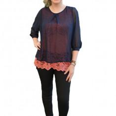 Bluze de ocazie, culoare bleumarin-corai, lejera corp