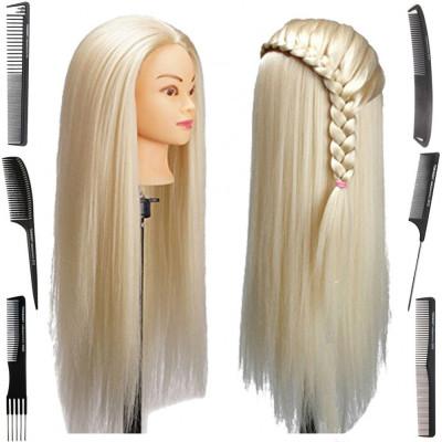 Cap practica manechin frizerie coafuri Lung Des Sintetic 60cm Blond impletituri foto