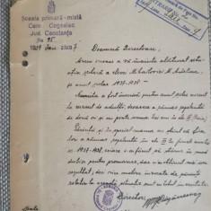 1939, Adresă Șc primară-mixtă, Cogealac, Constanța, semn. olograf Drăgănescu