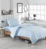 Set lenjerie de pat single, EnLora Home, bumbac/poliester, 160 x 240 cm, 162ELR1318, Blue ciel