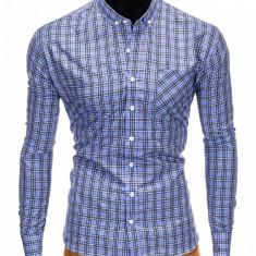 Camasa pentru barbati, albastru deschis, cu model, slim fit, casual, buzunar piept, cu guler - k394