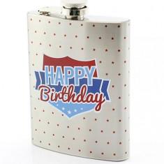 Plosca - S/Steel Hip Flask Happy Birthday   Lesser & Pavey