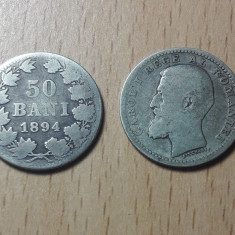 2x 50 Bani 1894 Monede rare argint Romania Regat!