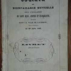 SOCIETE DE BINEFAISANCE MUTUALE, SOCIETATEA DE BINEFACERE MUTUALA, 1845