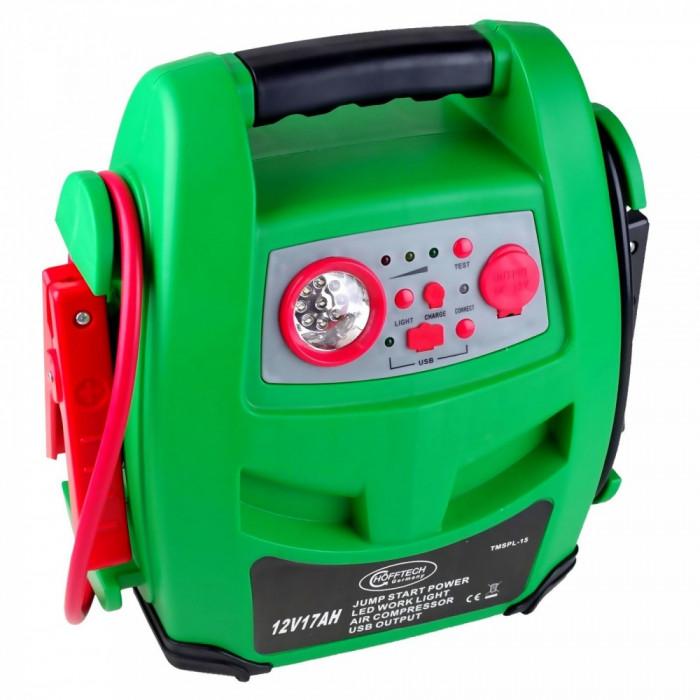 Robot pornire auto mobil 400 Amp 17Ah, starter auto portabil, compresor, USB