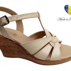 Sandale dama din piele naturala cu platforma - S15ELYB, 35 - 40, Bej, Negru