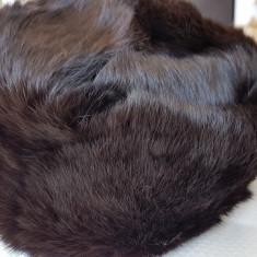 Caciula unisex din blana vulpe ruseasca,noua,culoare neagra,captuseala matlasata