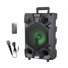 Boxa Karaoke cu microfon Lige-A82, 15 W RMS, bluetooth, acumulator, telecomanda