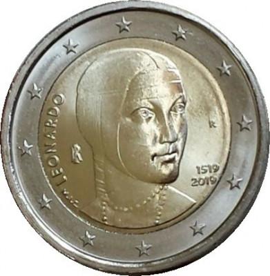 NOU - Italia moneda comemorativa 2 euro 2019 - Leonardo da Vinci - UNC foto