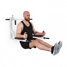 KLARFIT Bouncer MultiGym Pull Up & Dipstation, 200 kg, oțel, albă
