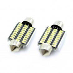 Set 2 becuri LED pentru plafoniera/numar inmatriculare Carguard, 2.5 W, 12 V, 189 lm, 6000 K, tip SMD, 36 mm, Alb
