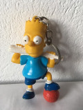 Breloc Bart Simpson, cu minge si tana de baseball, cauciuc, stanta pe ceafa, 9cm
