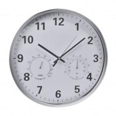 Ceas cu higrometru si termometru, 36 cm, Argintiu