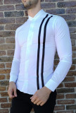 Camasa tunica alba dungi - camasa tunica camasa barbat camasa slim #204
