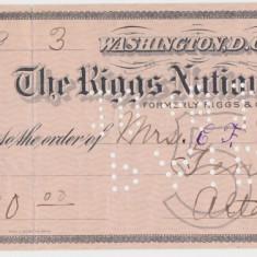 CHECK THE RIGGS NATIONAL BANK WASHINGTON 1918 XF WTMK