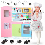 Set Bucatarie Multifunctionala pentru Copii, din Lemn cu Accesorii, 85 x 80,5 x 30,5 cm