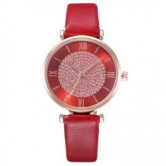 Ceas pentru dama casual Geneva CS1086, curea de piele, model rosu