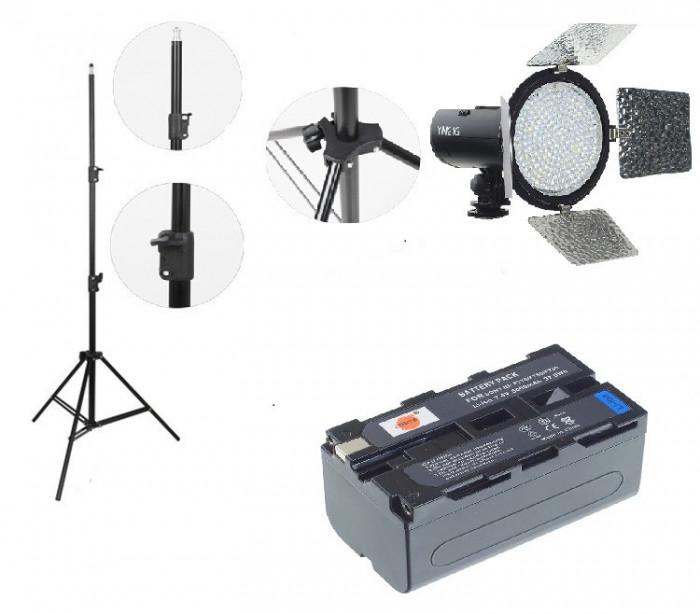 Kit lumina continua Lampa Yongnuo YN216 +Acumulator NP F+ incarcator+ stativ