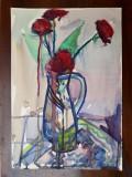 47 - Flori , natura statica, Acuarela veche , pictura