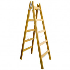 Scara lemn dubla Romprofix, lant sustinere, 220 cm, 6 trepte