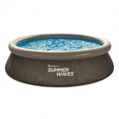 Piscina gonflabila rotunda Summer Waves®, 305 x 76 cm, 3982 l, cu pompa filtrare, imitatie Ratan