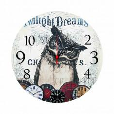 """Ceas din lemn de efect cu BUFNITA INTELEAPTA """"Twilight Dreams""""- LIVRARE IMEDIAT"""