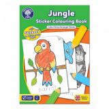 Carte de colorat cu activitati in limba engleza si abtibilduri Jungla JUNGLE, orchard toys