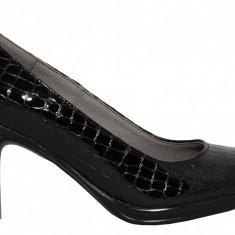 Pantofi dama cu toc Ninna Art 164 negru lac
