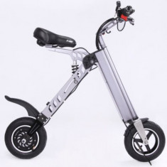 Bicicleta electrica CoolBike X7, Viteza maxima 20 Km/h, Autonomie 35 Km, Motor 250 W, Pliabila (Gri)