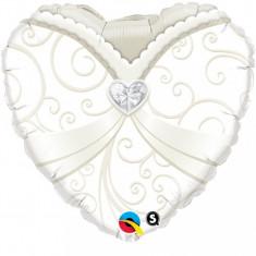 Balon nunta inima din folie 43cm Mireasa Wedding Gown