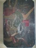 Pictură abstractă pe lemn gros , 18 x 12 cm, ulei