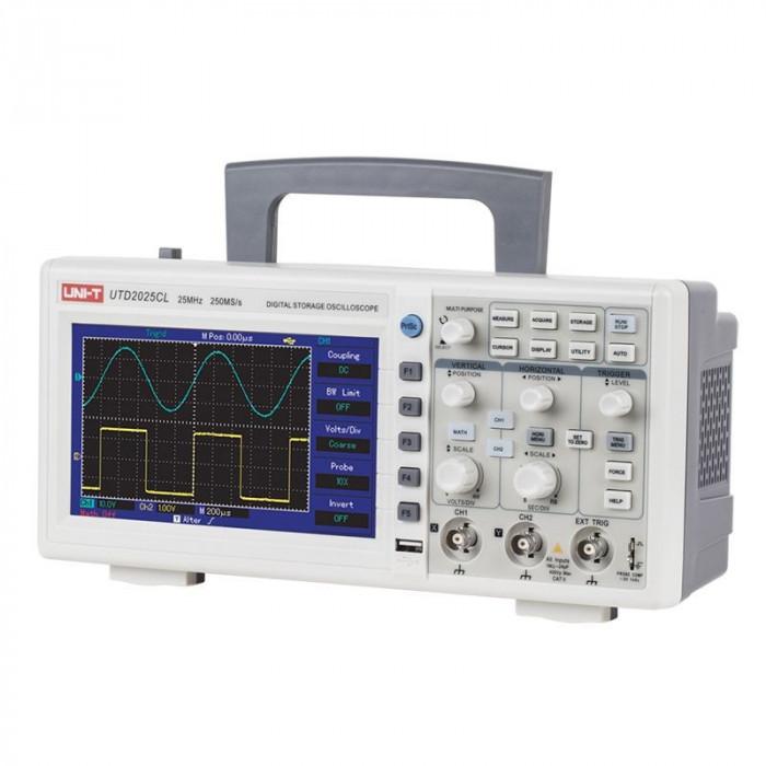 Osciloscop UT2025C, 2 canale, USB, functie recall, polaritate normal/reverse