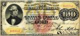 100 dolari 1875 Reproducere Bancnota USD , Dimensiune reala 1:1