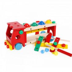 Jucarie de asamblat camion, banc de scule si ciocan cu bile din lemn